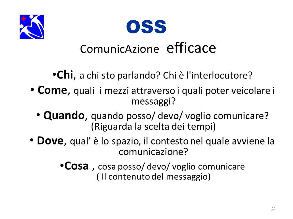 64 OSS. ComunicAzione efficace Chi, a chi sto parlando? Chi è l'interlocutore? Come, quali i mezzi attraverso i quali poter veicolare i messaggi? Quan