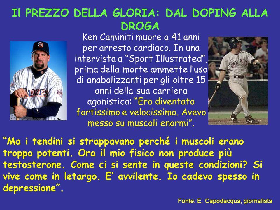 Il PREZZO DELLA GLORIA: DAL DOPING ALLA DROGA Ken Caminiti muore a 41 anni per arresto cardiaco. In una intervista a Sport Illustrated, prima della mo