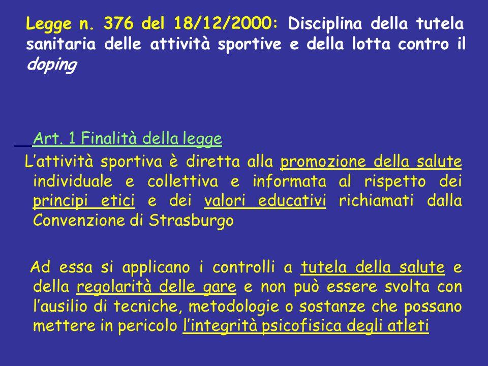 Art. 1 Finalità della legge Lattività sportiva è diretta alla promozione della salute individuale e collettiva e informata al rispetto dei principi et
