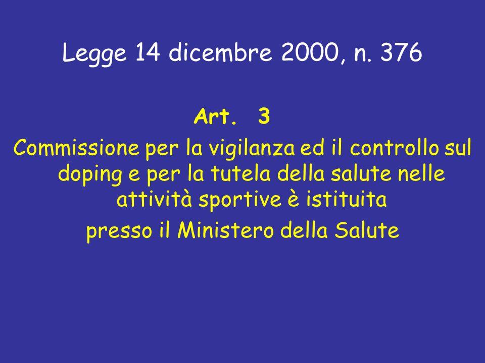 Art. 3 Commissione per la vigilanza ed il controllo sul doping e per la tutela della salute nelle attività sportive è istituita presso il Ministero de