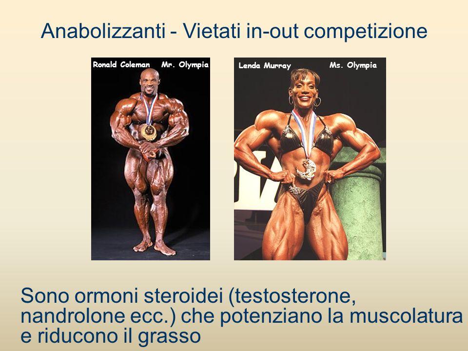 Sono ormoni steroidei (testosterone, nandrolone ecc.) che potenziano la muscolatura e riducono il grasso Mr. Olympia Ms. Olympia Lenda Murray Ronald C