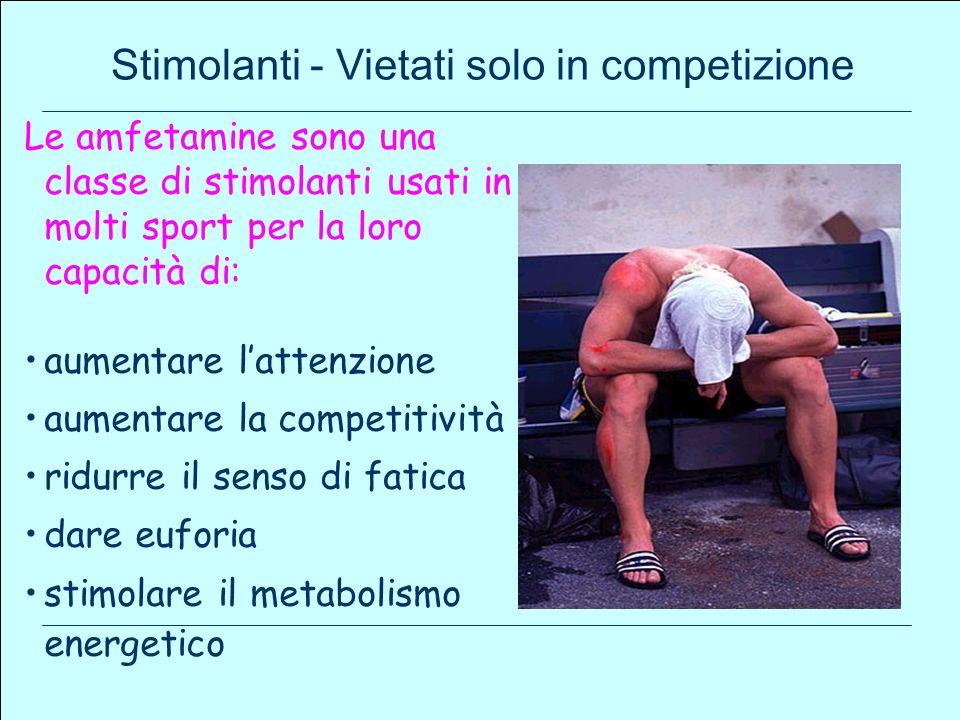 Le amfetamine sono una classe di stimolanti usati in molti sport per la loro capacità di: aumentare lattenzione aumentare la competitività ridurre il