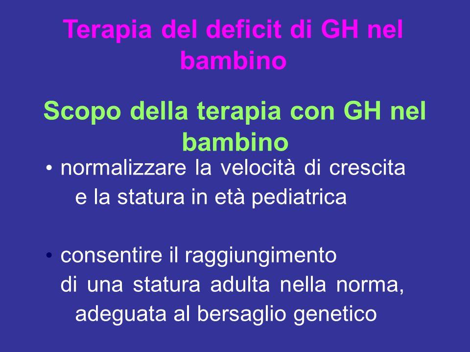 normalizzare la velocità di crescita e la statura in età pediatrica consentire il raggiungimento di una statura adulta nella norma, adeguata al bersag