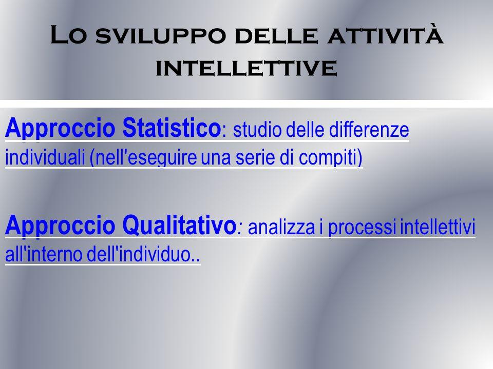 Lo sviluppo delle attività intellettive Approccio Statistico : studio delle differenze individuali (nell eseguire una serie di compiti) Approccio Qualitativo : analizza i processi intellettivi all interno dell individuo..