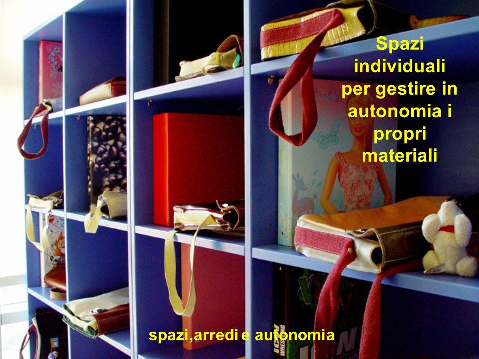 Spazi individuali per gestire in autonomia i propri materiali spazi,arredi e autonomia