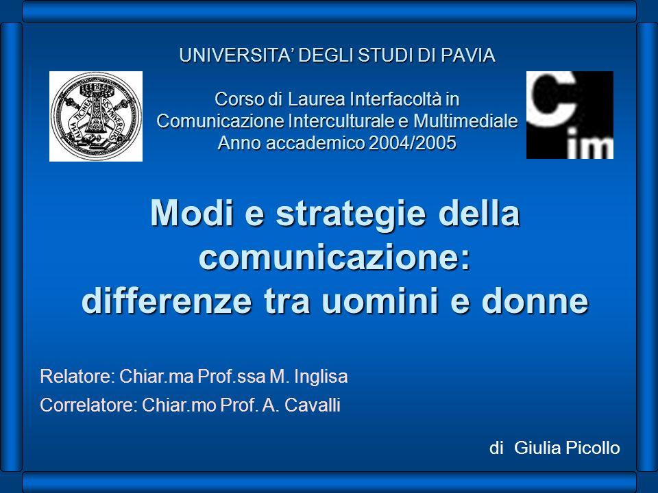 UNIVERSITA DEGLI STUDI DI PAVIA Corso di Laurea Interfacoltà in Comunicazione Interculturale e Multimediale Anno accademico 2004/2005 Modi e strategie