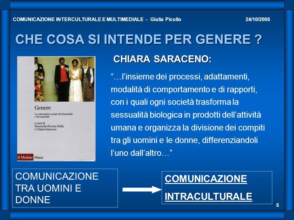 24/10/2005COMUNICAZIONE INTERCULTURALE E MULTIMEDIALE - Giulia Picollo 5 CHE COSA SI INTENDE PER GENERE ? CHIARA SARACENO: …linsieme dei processi, ada