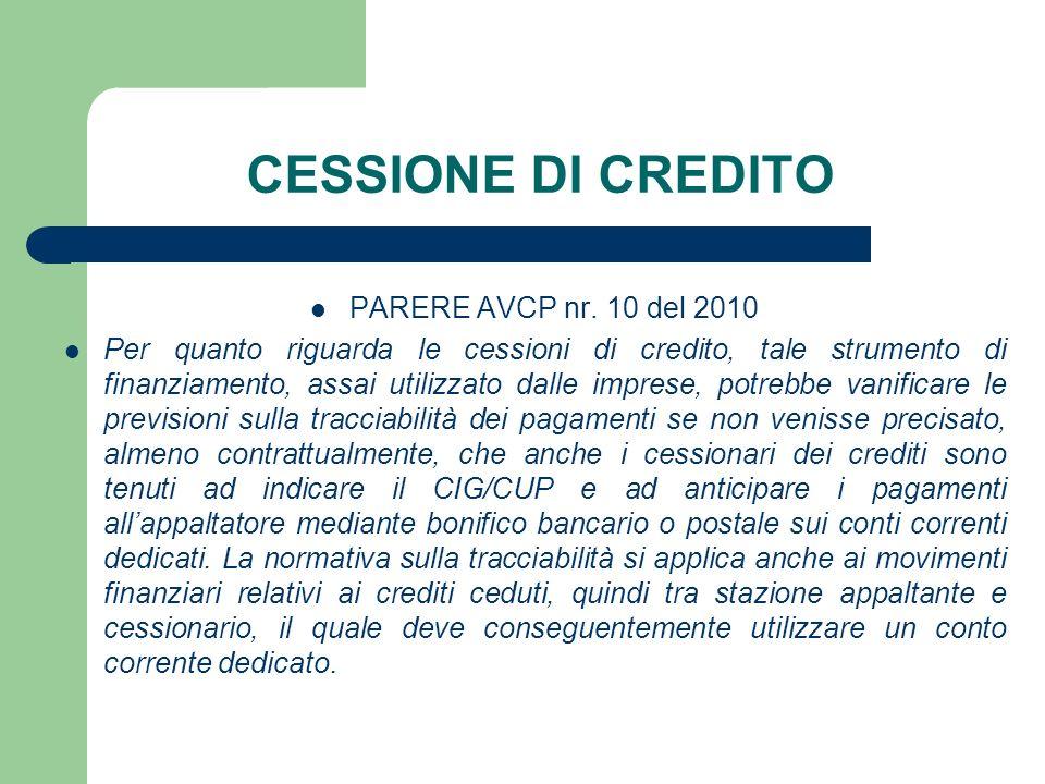 CESSIONE DI CREDITO PARERE AVCP nr. 10 del 2010 Per quanto riguarda le cessioni di credito, tale strumento di finanziamento, assai utilizzato dalle im