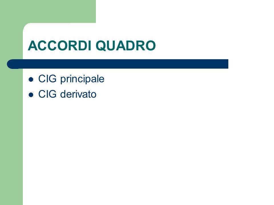 ACCORDI QUADRO CIG principale CIG derivato