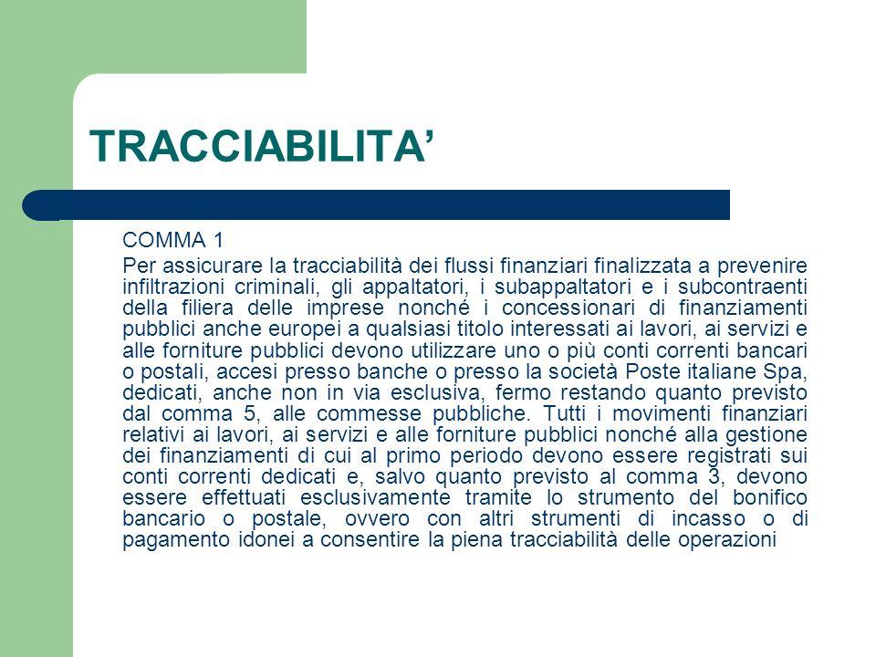 TRACCIABILITA COMMA 1 Per assicurare la tracciabilità dei flussi finanziari finalizzata a prevenire infiltrazioni criminali, gli appaltatori, i subapp