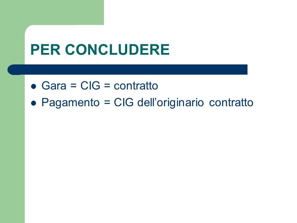 PER CONCLUDERE Gara = CIG = contratto Pagamento = CIG delloriginario contratto