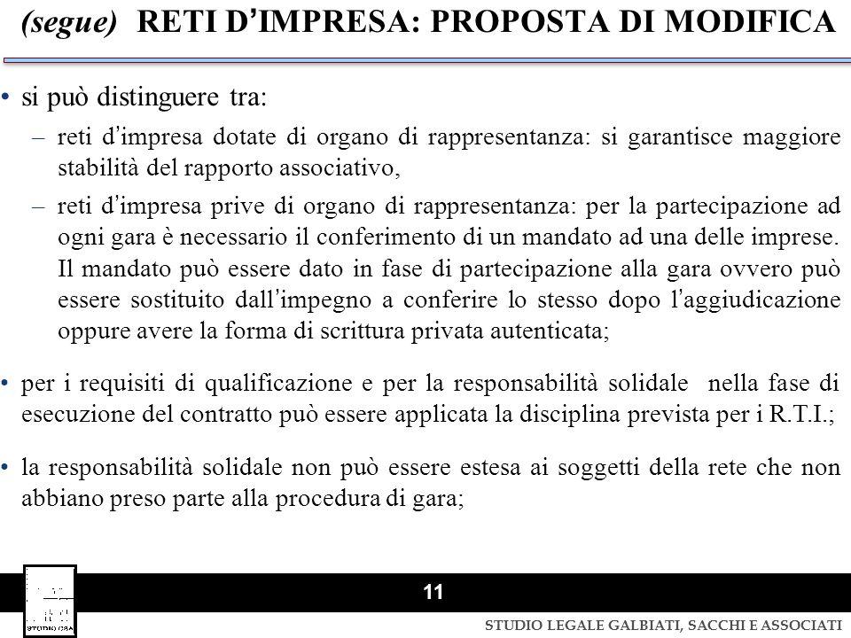 STUDIO LEGALE GALBIATI, SACCHI E ASSOCIATI 11 (segue) RETI DIMPRESA: PROPOSTA DI MODIFICA si può distinguere tra: –reti dimpresa dotate di organo di r