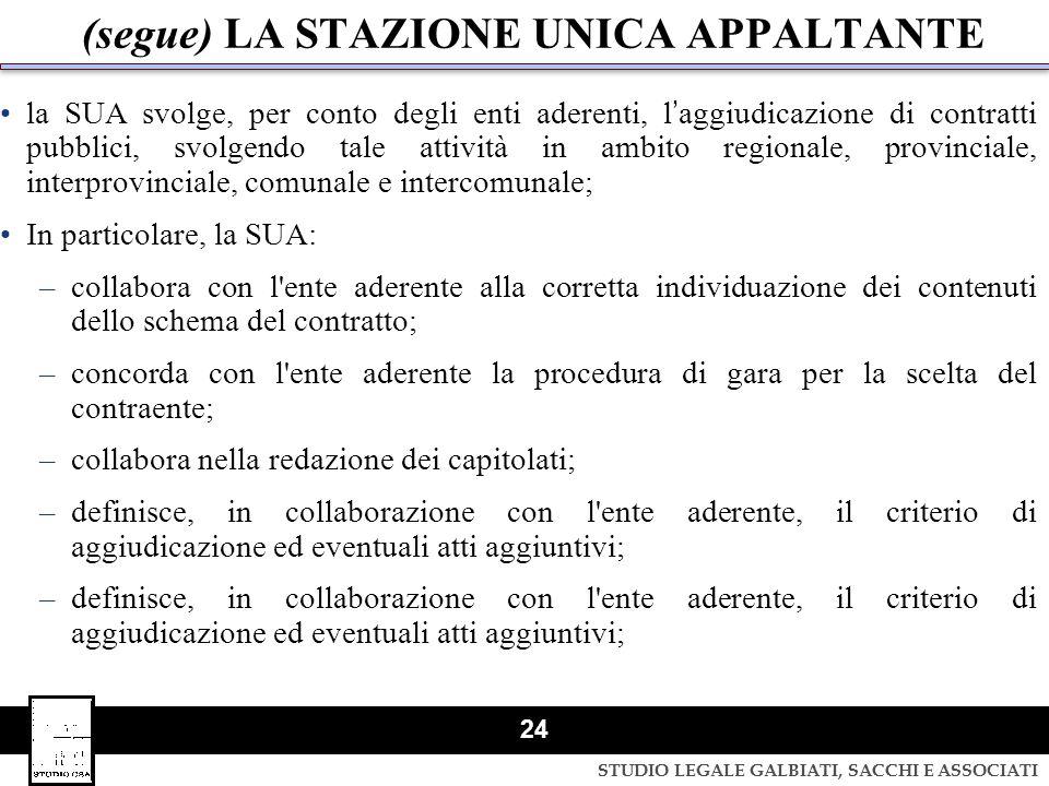 STUDIO LEGALE GALBIATI, SACCHI E ASSOCIATI 24 (segue) LA STAZIONE UNICA APPALTANTE la SUA svolge, per conto degli enti aderenti, laggiudicazione di co