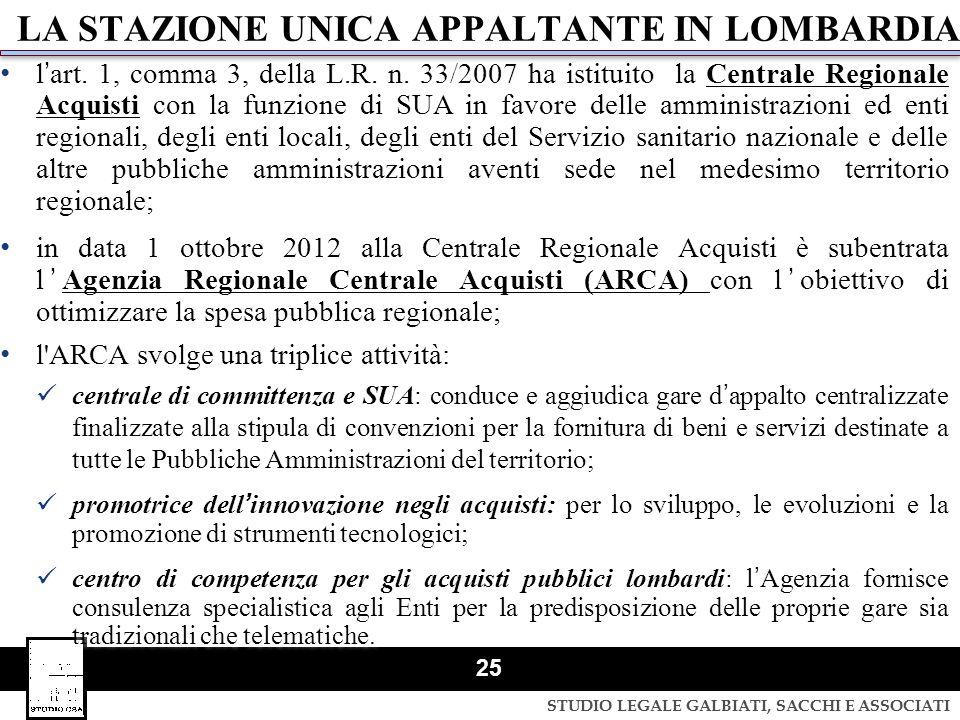 STUDIO LEGALE GALBIATI, SACCHI E ASSOCIATI 25 LA STAZIONE UNICA APPALTANTE IN LOMBARDIA lart. 1, comma 3, della L.R. n. 33/2007 ha istituito la Centra