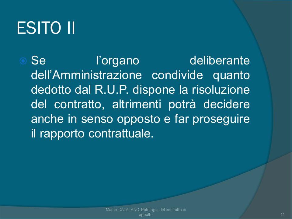 ESITO II Se lorgano deliberante dellAmministrazione condivide quanto dedotto dal R.U.P. dispone la risoluzione del contratto, altrimenti potrà decider