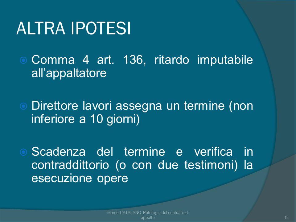 ALTRA IPOTESI Comma 4 art. 136, ritardo imputabile allappaltatore Direttore lavori assegna un termine (non inferiore a 10 giorni) Scadenza del termine