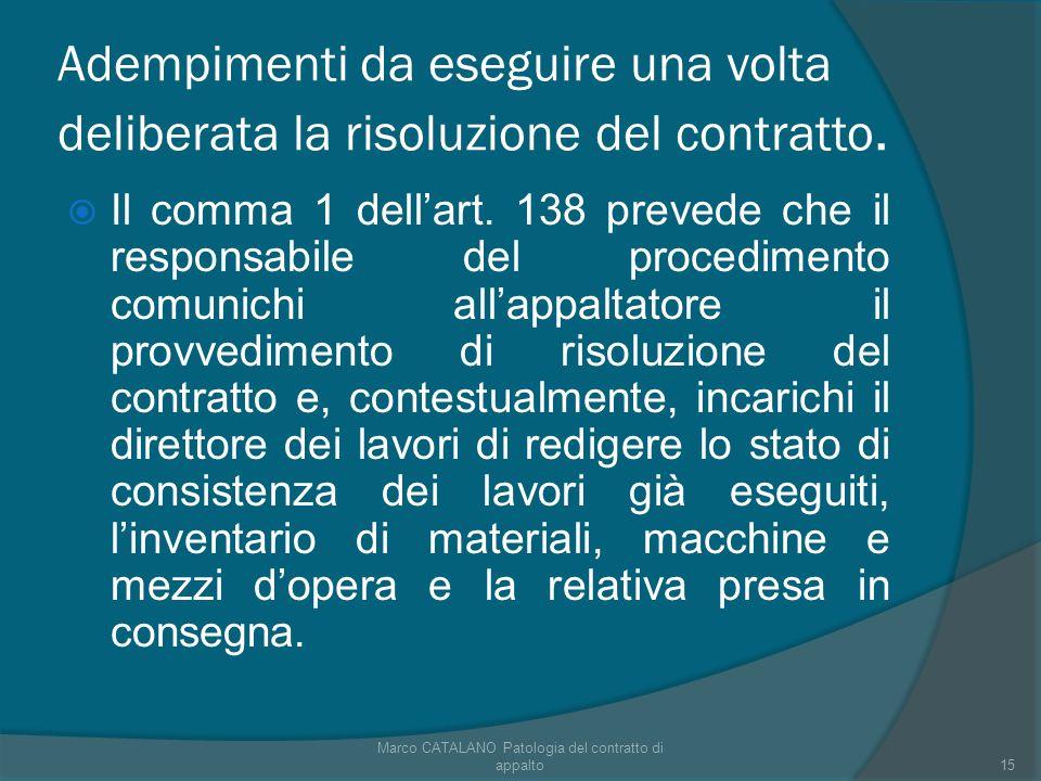 Adempimenti da eseguire una volta deliberata la risoluzione del contratto.
