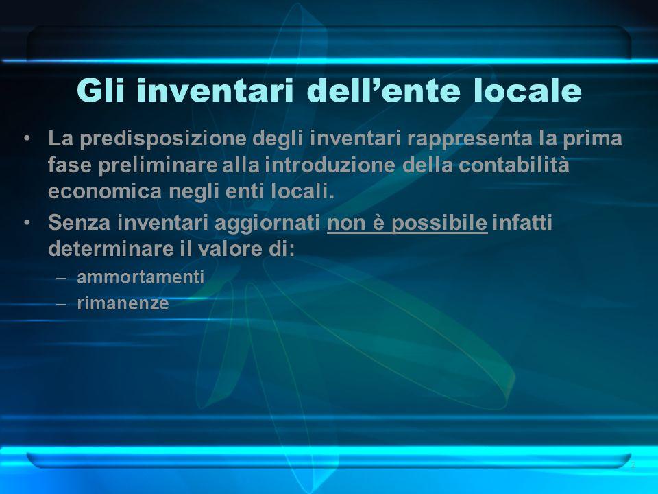 Gli inventari dellente locale La predisposizione degli inventari rappresenta la prima fase preliminare alla introduzione della contabilità economica n