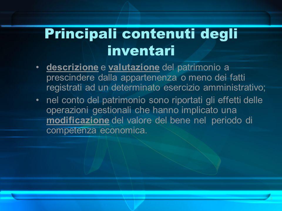 Tipologia dei beni da inventariare Beni demaniali (arrt.