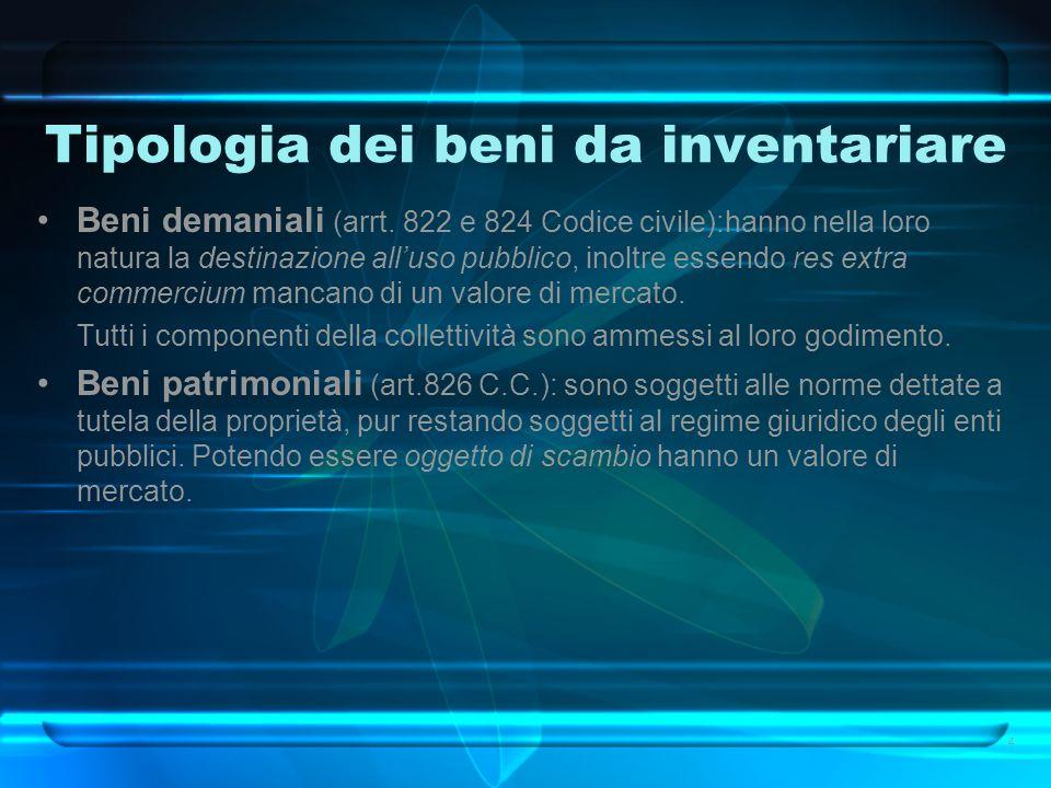 Tipologia dei beni da inventariare Beni demaniali (arrt. 822 e 824 Codice civile):hanno nella loro natura la destinazione alluso pubblico, inoltre ess