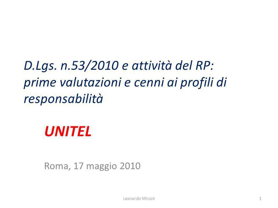 D.Lgs. n.53/2010 e attività del RP: prime valutazioni e cenni ai profili di responsabilità UNITEL Roma, 17 maggio 2010 1Leonardo Miconi