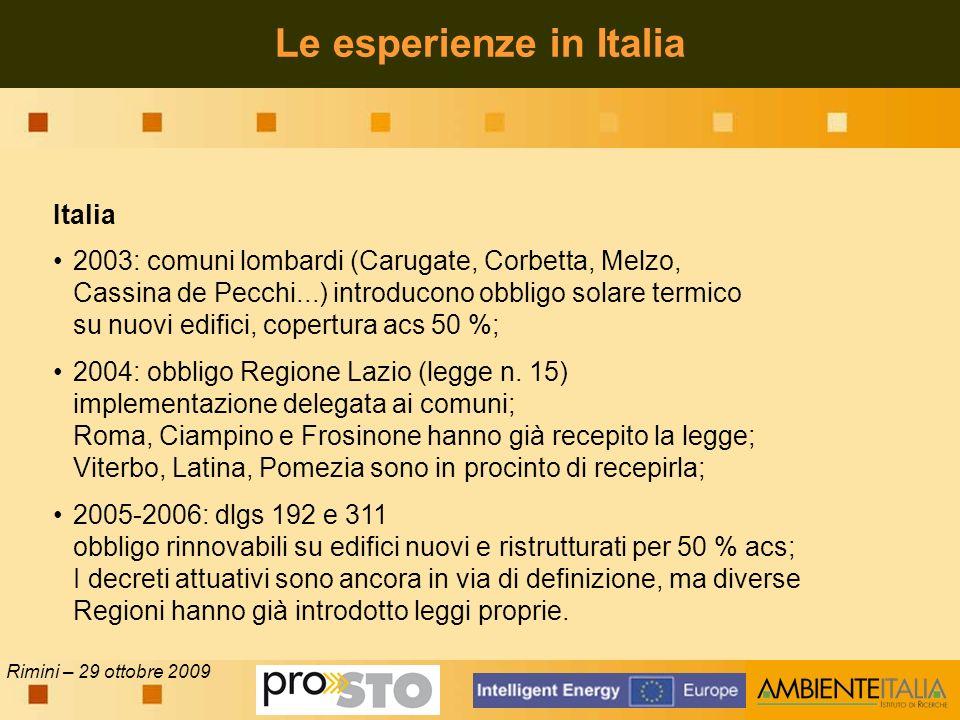Rimini – 29 ottobre 2009 Italia 2003: comuni lombardi (Carugate, Corbetta, Melzo, Cassina de Pecchi...) introducono obbligo solare termico su nuovi edifici, copertura acs 50 %; 2004: obbligo Regione Lazio (legge n.