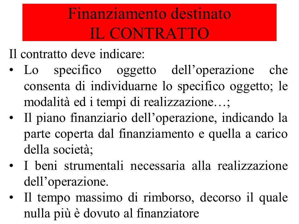 Finanziamento destinato IL CONTRATTO Il contratto deve indicare: Lo specifico oggetto delloperazione che consenta di individuarne lo specifico oggetto