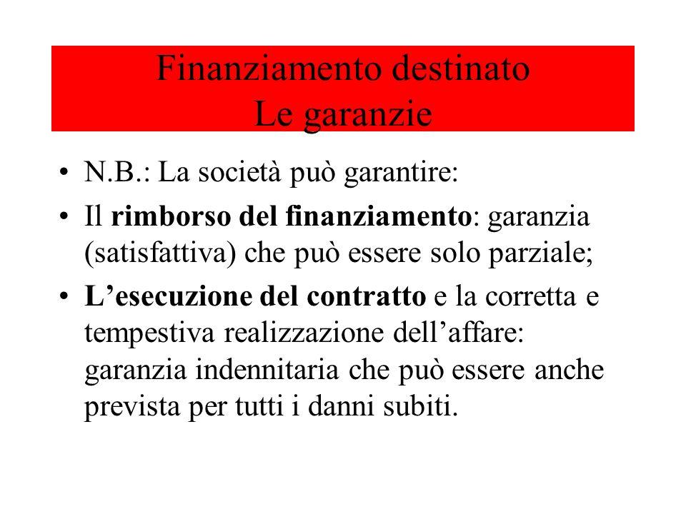 N.B.: La società può garantire: Il rimborso del finanziamento: garanzia (satisfattiva) che può essere solo parziale; Lesecuzione del contratto e la co