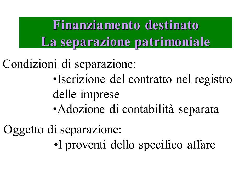 Finanziamento destinato La separazione patrimoniale Condizioni di separazione: Iscrizione del contratto nel registro delle imprese Adozione di contabi