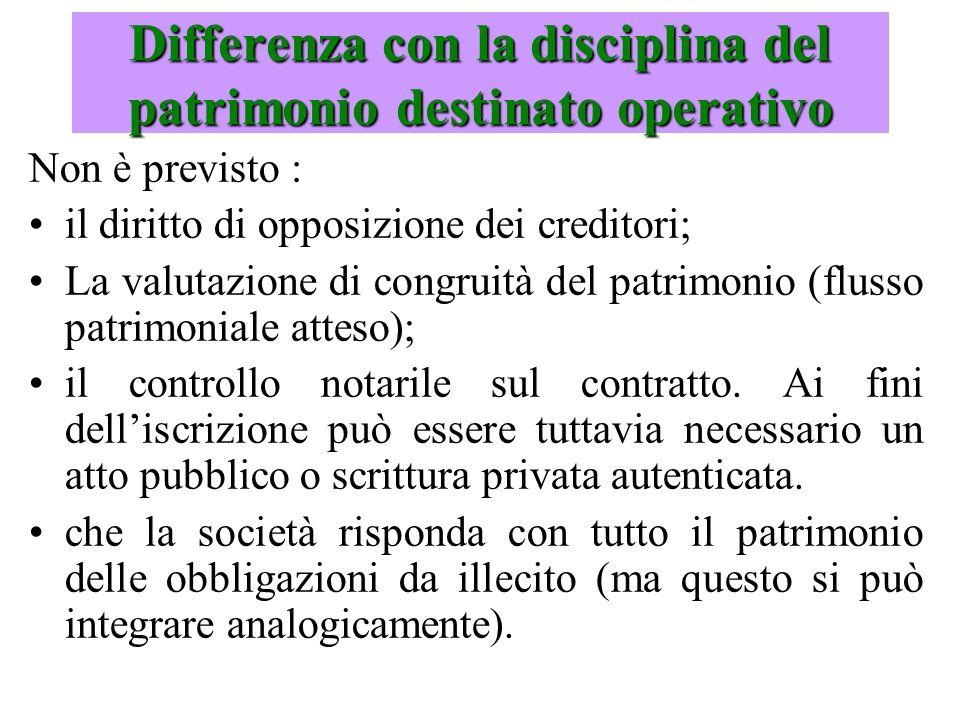 Non è previsto : il diritto di opposizione dei creditori; La valutazione di congruità del patrimonio (flusso patrimoniale atteso); il controllo notari