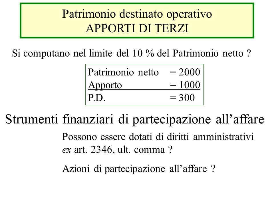Patrimonio destinato operativo APPORTI DI TERZI Si computano nel limite del 10 % del Patrimonio netto ? Patrimonio netto= 2000 Apporto= 1000 P.D.= 300