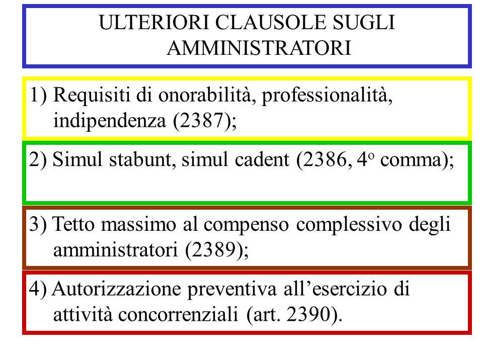 ULTERIORI CLAUSOLE SUGLI AMMINISTRATORI 1)Requisiti di onorabilità, professionalità, indipendenza (2387); 2) Simul stabunt, simul cadent (2386, 4 o co