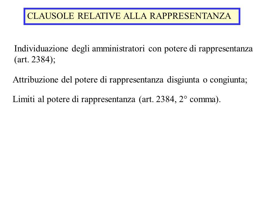 CLAUSOLE RELATIVE ALLA RAPPRESENTANZA Individuazione degli amministratori con potere di rappresentanza (art. 2384); Attribuzione del potere di rappres