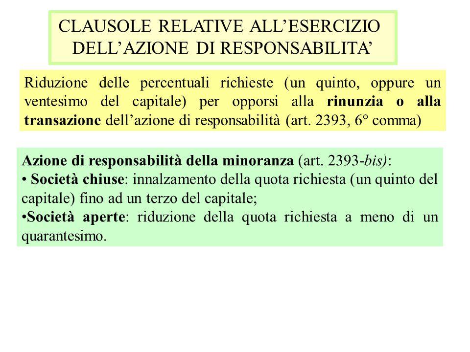 CLAUSOLE RELATIVE ALLESERCIZIO DELLAZIONE DI RESPONSABILITA Riduzione delle percentuali richieste (un quinto, oppure un ventesimo del capitale) per op