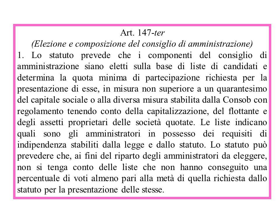 Art. 147-ter (Elezione e composizione del consiglio di amministrazione) 1. Lo statuto prevede che i componenti del consiglio di amministrazione siano