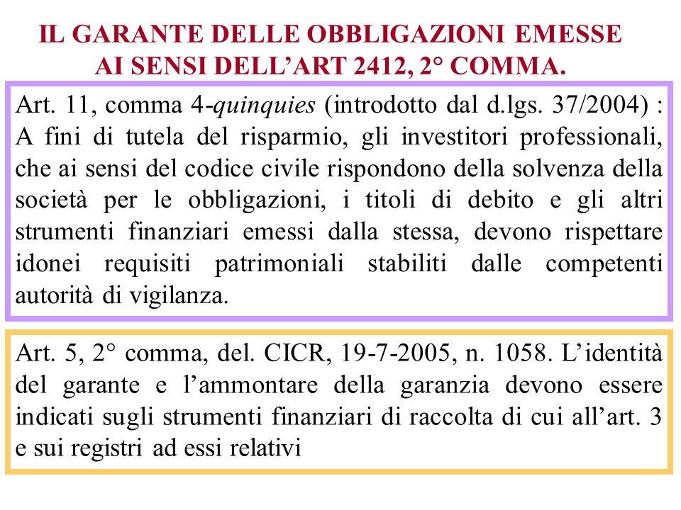 IL GARANTE DELLE OBBLIGAZIONI EMESSE AI SENSI DELLART 2412, 2° COMMA.