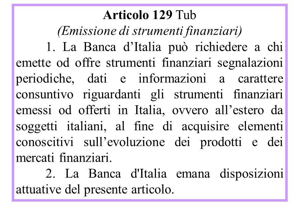 Articolo 129 Tub (Emissione di strumenti finanziari) 1.