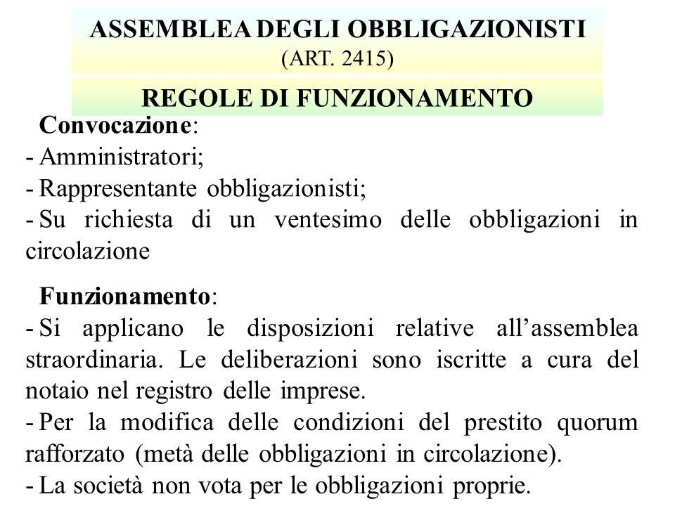Convocazione: -Amministratori; -Rappresentante obbligazionisti; -Su richiesta di un ventesimo delle obbligazioni in circolazione ASSEMBLEA DEGLI OBBLIGAZIONISTI (ART.