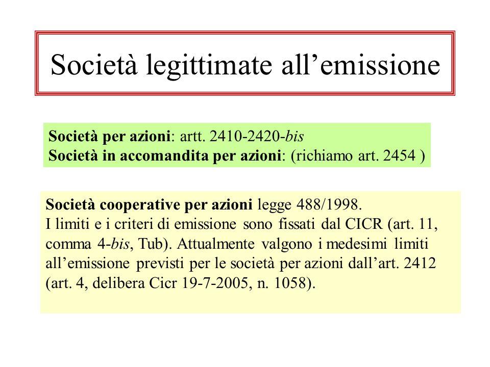 Società legittimate allemissione Società per azioni: artt.