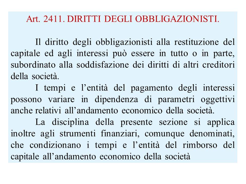 Art. 2411. DIRITTI DEGLI OBBLIGAZIONISTI.
