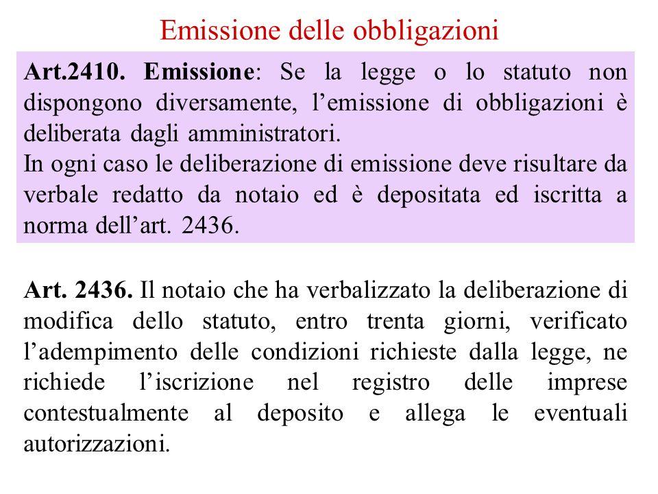 Emissione delle obbligazioni Art.2410.