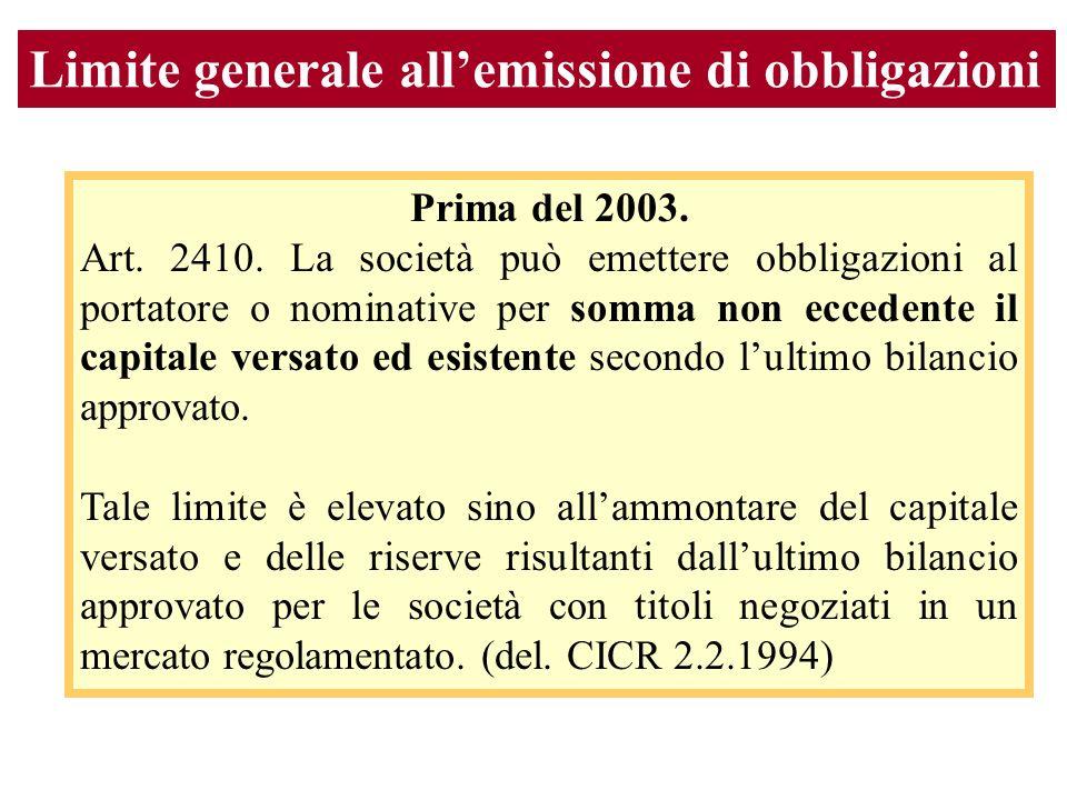 Limite generale allemissione di obbligazioni Prima del 2003.