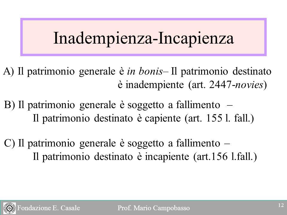 Fondazione E. Casale Prof. Mario Campobasso Inadempienza-Incapienza A) Il patrimonio generale è in bonis– Il patrimonio destinato è inadempiente (art.