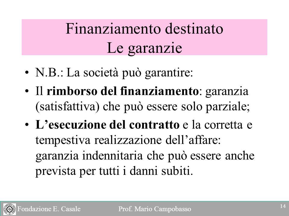 Fondazione E. Casale Prof. Mario Campobasso N.B.: La società può garantire: Il rimborso del finanziamento: garanzia (satisfattiva) che può essere solo