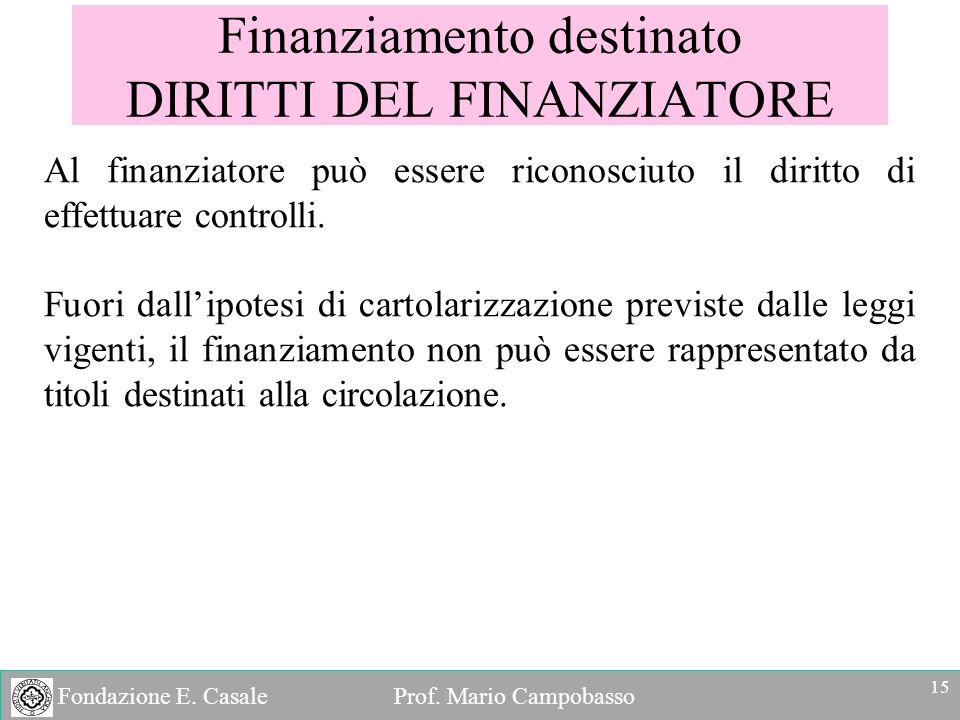 Fondazione E. Casale Prof. Mario Campobasso Finanziamento destinato DIRITTI DEL FINANZIATORE Al finanziatore può essere riconosciuto il diritto di eff