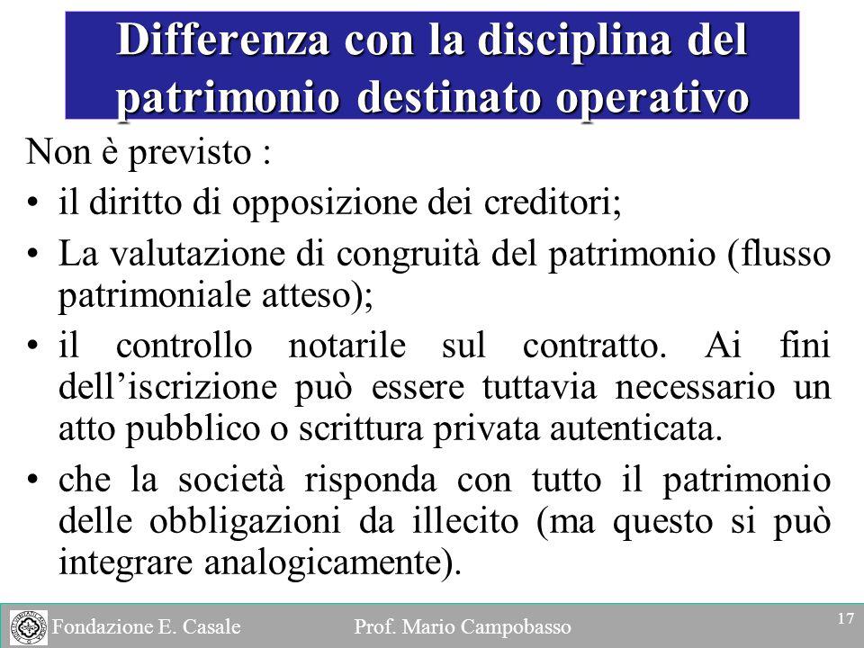 Fondazione E. Casale Prof. Mario Campobasso Non è previsto : il diritto di opposizione dei creditori; La valutazione di congruità del patrimonio (flus