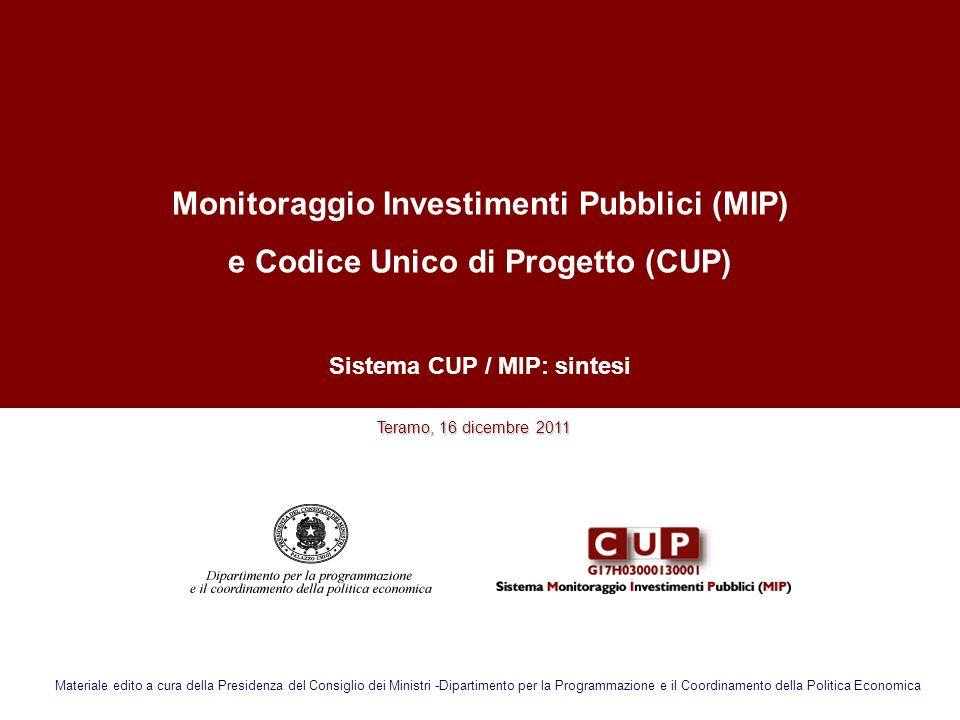 Monitoraggio Investimenti Pubblici (MIP) e Codice Unico di Progetto (CUP) Sistema CUP / MIP: sintesi Teramo, 16 dicembre 2011 Teramo, 16 dicembre 2011