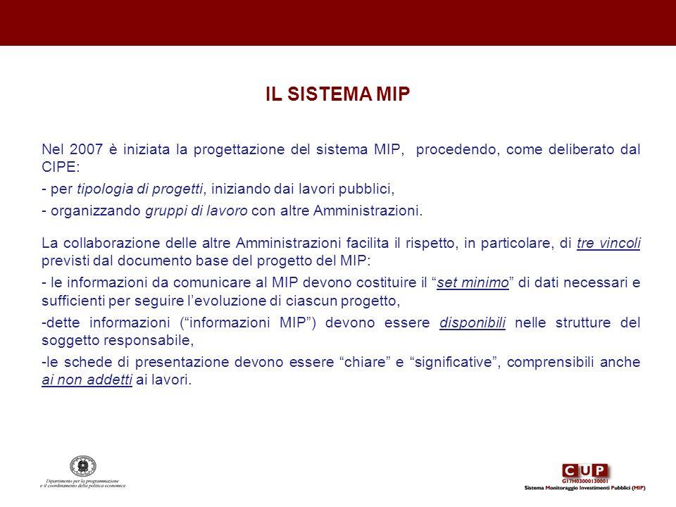 IL SISTEMA MIP Nel 2007 è iniziata la progettazione del sistema MIP, procedendo, come deliberato dal CIPE: - per tipologia di progetti, iniziando dai