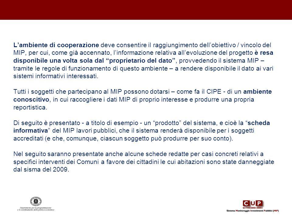 Lambiente di cooperazione deve consentire il raggiungimento dellobiettivo / vincolo del MIP, per cui, come già accennato, linformazione relativa allev