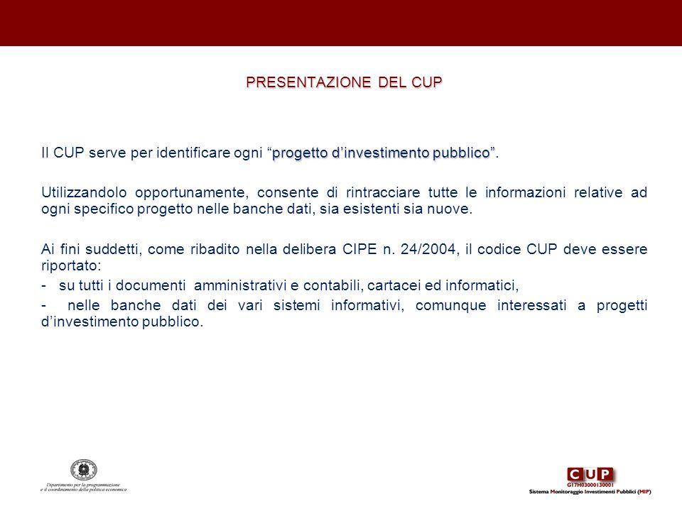 PRESENTAZIONE DEL CUP progetto dinvestimento pubblico Il CUP serve per identificare ogni progetto dinvestimento pubblico. Utilizzandolo opportunamente